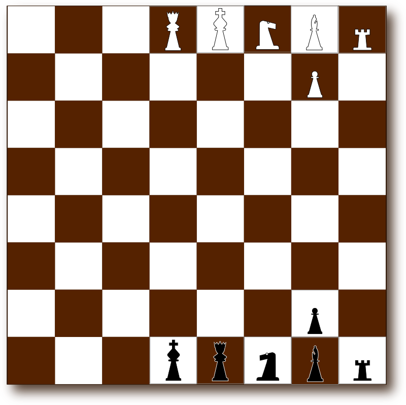 Chessboard 2d Brown by Eggib - Chessboard in brown and white with outlined pieces