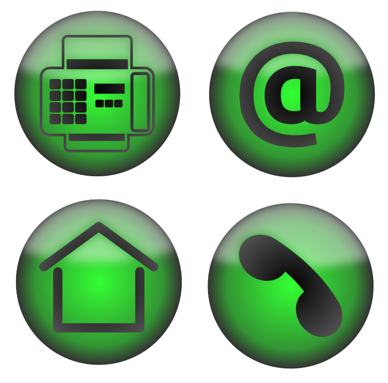 Four Contact Icons by PomPrint - A set of four icons for use on a contact page. Easily recoloured by changing a single radial gradient fill on each.