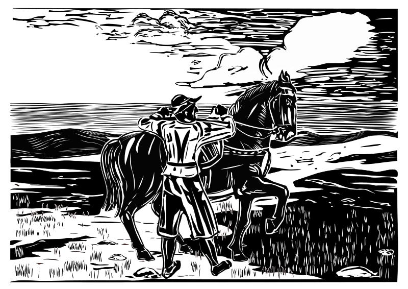 thunderstorm approaching by Helm42 - A book-illustration in linocut-style. Scenery, horse and horseman are drawn on 3 different layers to show or to hide each part separated.