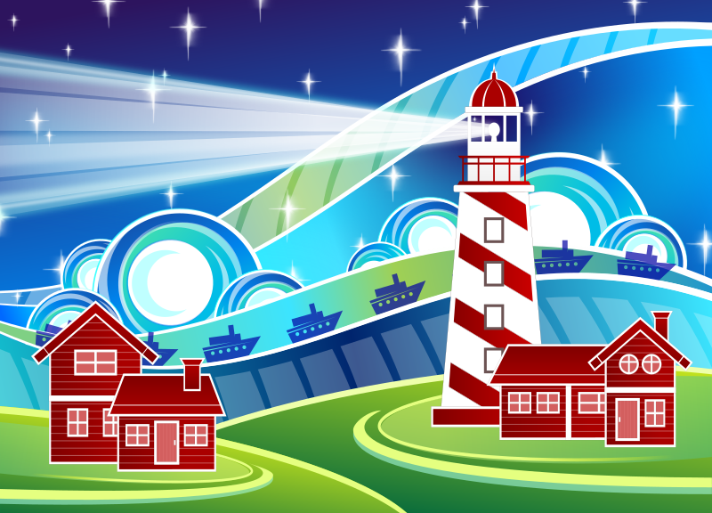 Stylised Lighthouse Scenery by Viscious-Speed -
