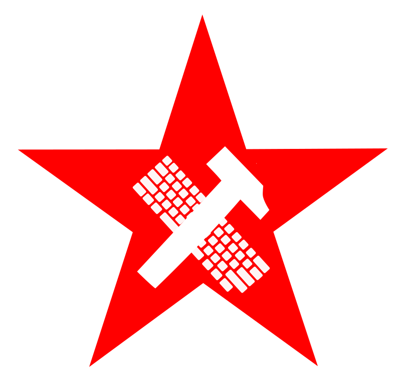 hammer and keyboard in star - proletariat by worker