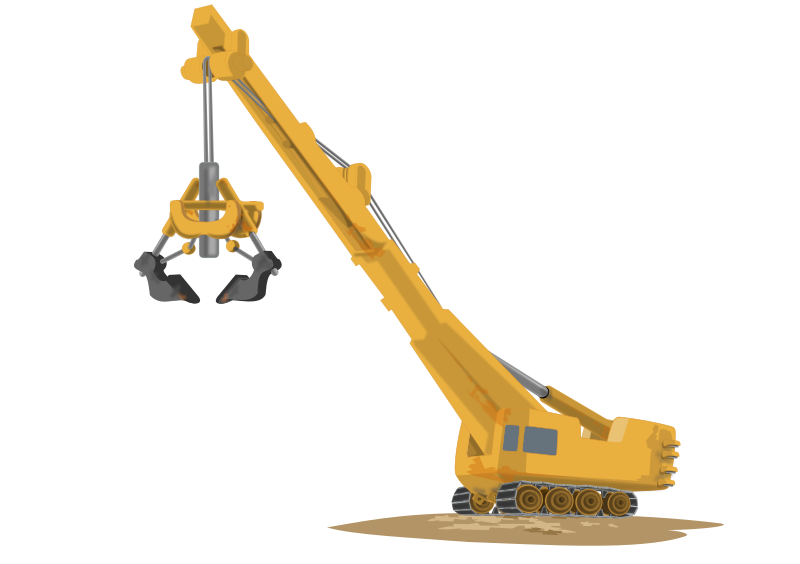 Construction Crane by Markacio - A construction crane ready to work with a big land moving attachment.
