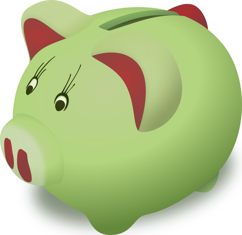 Piggybank by DooFi - Why it's green? I have absolutely no idea. The real piggybank that sits on my monitor is green, so....