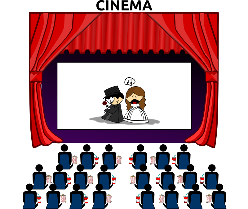 Cinema by Merlin2525 - The Premiere of The Phantom Of The Opera at a movie theatre with a nice red curtain. The silhouette of an audience, sitting and enjoying popcorn and soft drinks! Credit to the following Open Clip Art Artist:  Audience silhouette and seats Merlin2525, Lukyzcaetano for The_Phantom_of_The_Opera.svg, Gerald G for Fast_Food_Drinks_(FF_Menu)_5.svg, Gnokii for popcorn.svg, and Rastrojo for cortina.svg