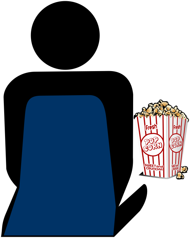 Cinema 2 Person with Popcorn by Merlin2525 - The silhouette of a person sitting and enjoying popcorn.