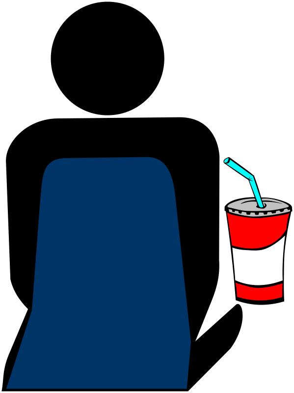 Cinema 3 Person with Soft Drink by Merlin2525 - The silhouette of a person sitting and enjoying a soft drink,