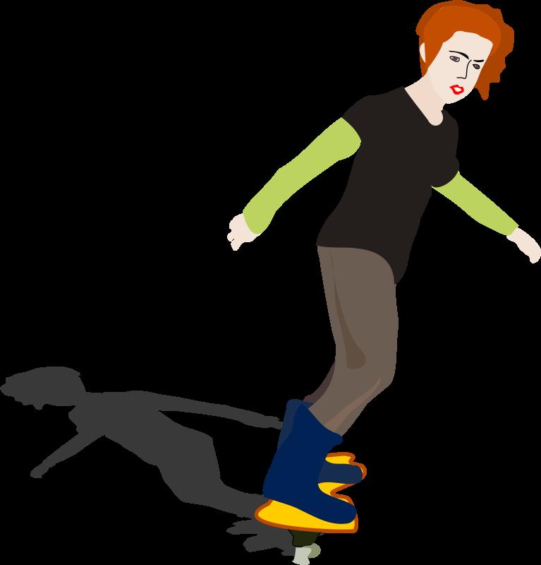 Clipart - girl on skateboard