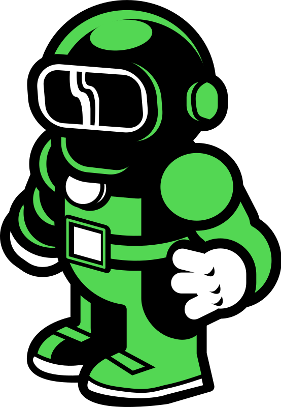 Green Spaceman by finchweb - Just a simple spaceman drawing done in inkscape. Originally sketched during a logo brainstorm.