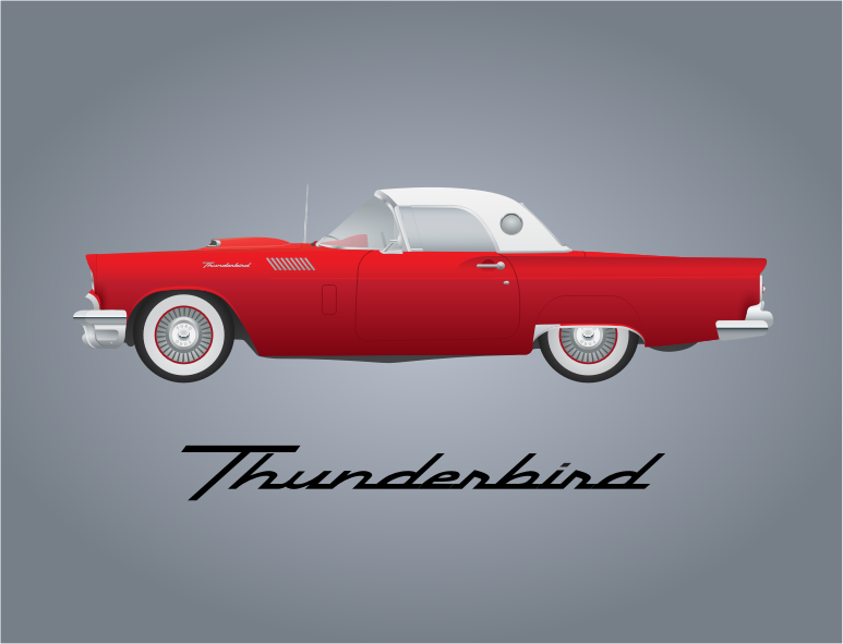 57 Thunderbird by bnsonger47 - The 1957 was the last year of production for the Ford Thunderbird as a two-seat roadster. This illustration is very faithful to the proper dimensions of that classic vehicle.