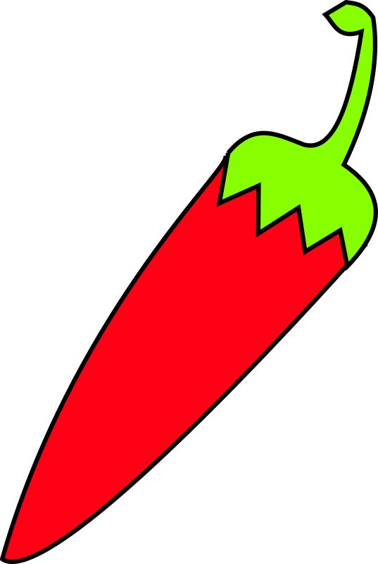 "red chili with green tail by sebek - a red chili with green tail made with inkscape for open source project ""sshili"""