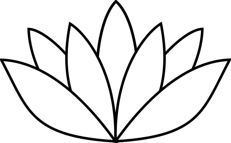 white lotus flower by sebek - a stylised white lotus flower with black outline