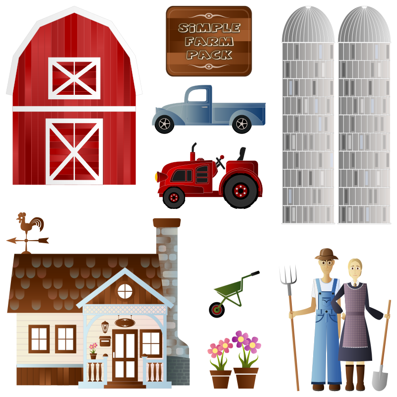 Simple Farm Pack by Viscious-Speed - Farm Animals 1 here : http://openclipart.org/detail/168723/simple-farm-animals-by-viscious-speed  Farm Animals 2 : http://openclipart.org/detail/168765/  Farm Crops & Trees here : http://openclipart.org/detail/168724/