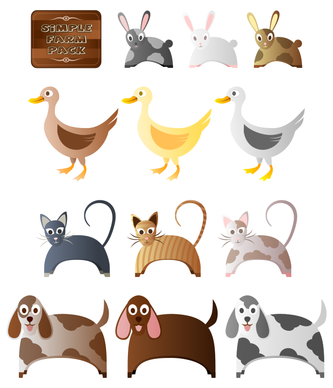 Simple Farm Animals 2 by Viscious-Speed - Simple Farm Animals 1 here : http://openclipart.org/detail/168723/simple-farm-animals-by-viscious-speed  Simple Farm Buildings/Items here :  http://openclipart.org/detail/168722/simple-farm-pack-by-viscious-speed  Simple Farm Crops/Trees : http://openclipart.org/detail/168724/simple-farm-crops-by-viscious-speed