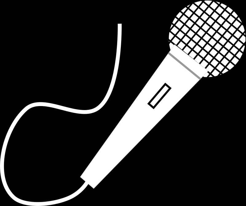 Microphone by Savannah Software - White microphone on black background. There is a background layer which can be removed to make it transparent.