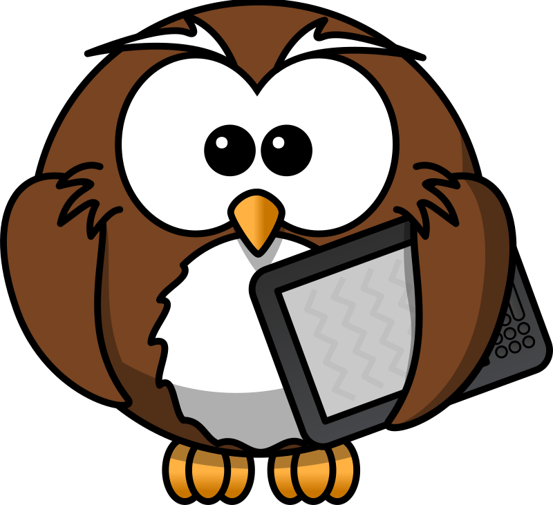Owl with ebook reader by bocian - Owl with ebook reader