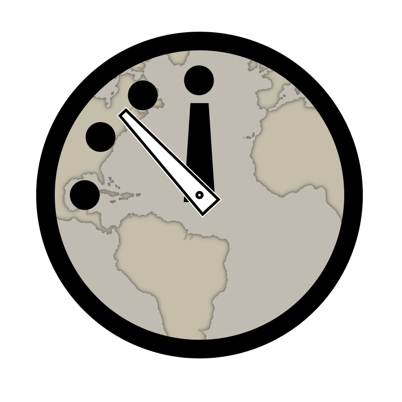 Doomsday Clock by conte magnus - The Doomsday Clock is a symbolic clock face.