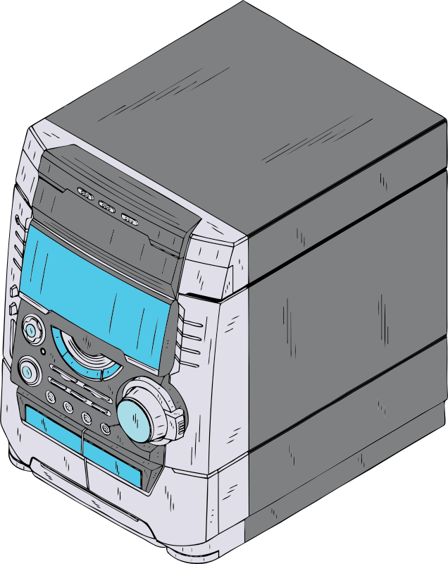 compact stereo by johnny_automatic - a compact or mini all-in-one stereo system from a U.S. patent drawing