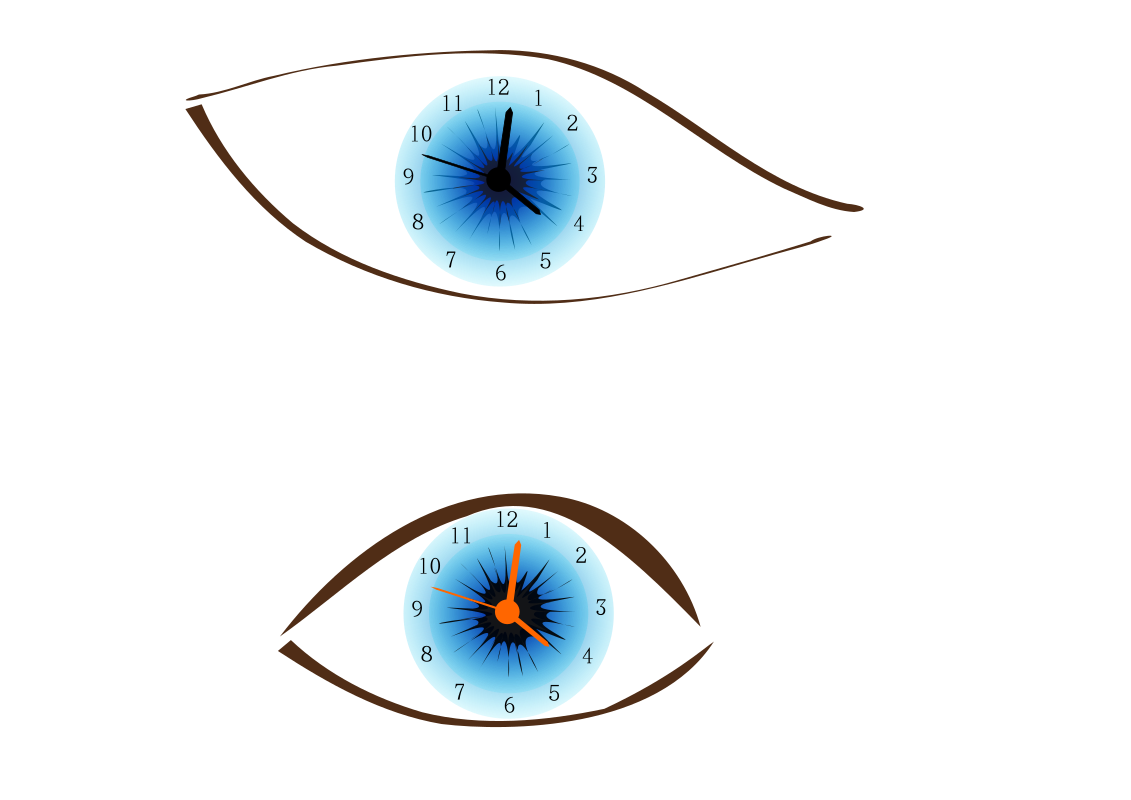 Clock eye by haelstrom - set of two eyes with clocks in it.