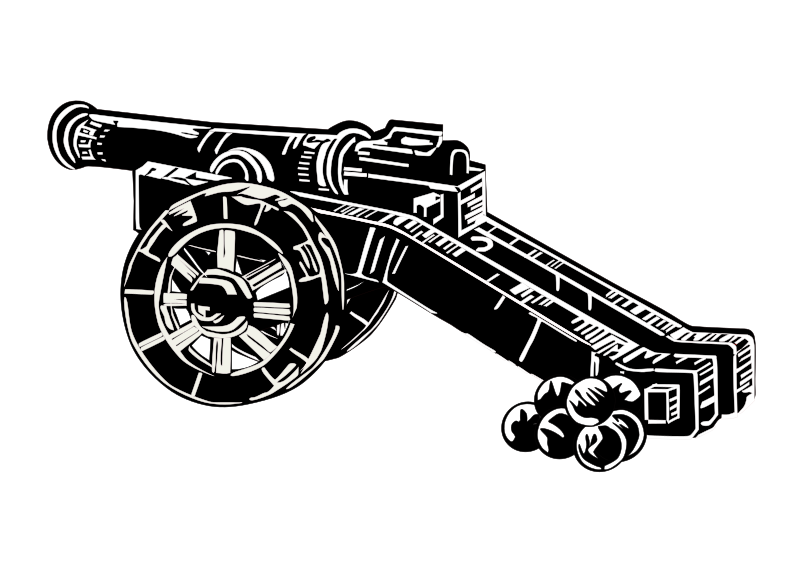 medieval cannon by Helm42 - medieval cannon in linocut-style