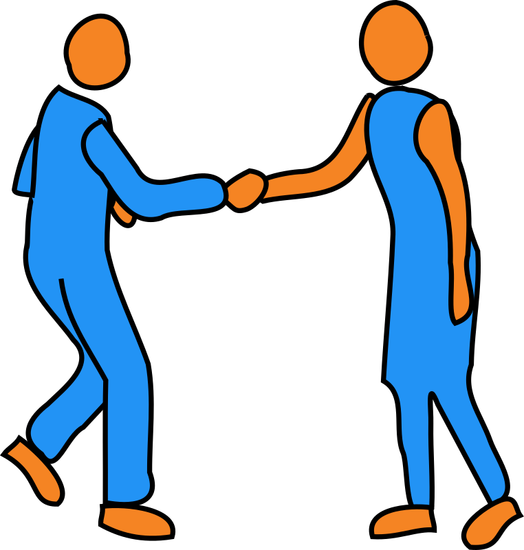 Handshake by bitterjug - Male figure and female figure shaking hands