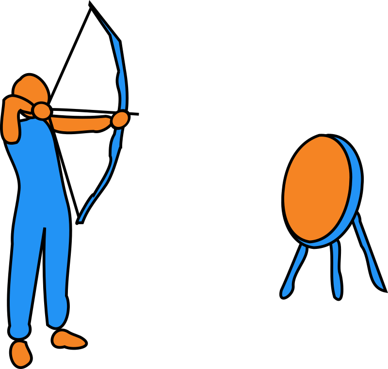 On Target by bitterjug - Figure aiming a bow and arrow at a target