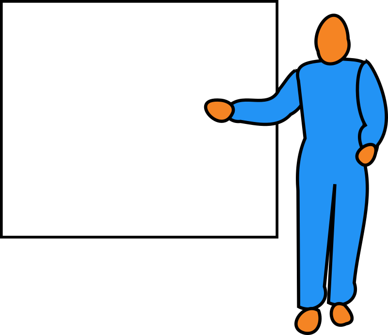 Presenter by bitterjug - Male figure pointing at a screen or whiteboard as if giving a presentation.