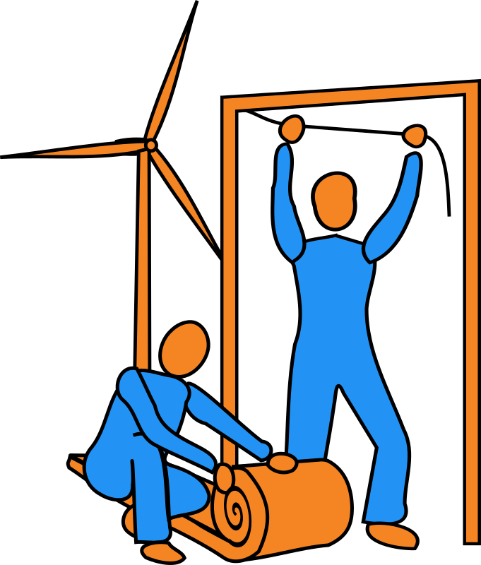Reduce CO2 by bitterjug - Two figures, one fitting draft strip to a door-frame, the other unrolling loft insulation. with a wind turbine in the background. Originally drawn to depict taking action to reduce wasteful CO2 production