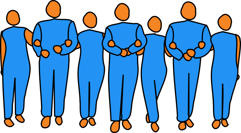 Teamwork by bitterjug - A line of alternating male and female figures with their arms linked, indicating teamwork.