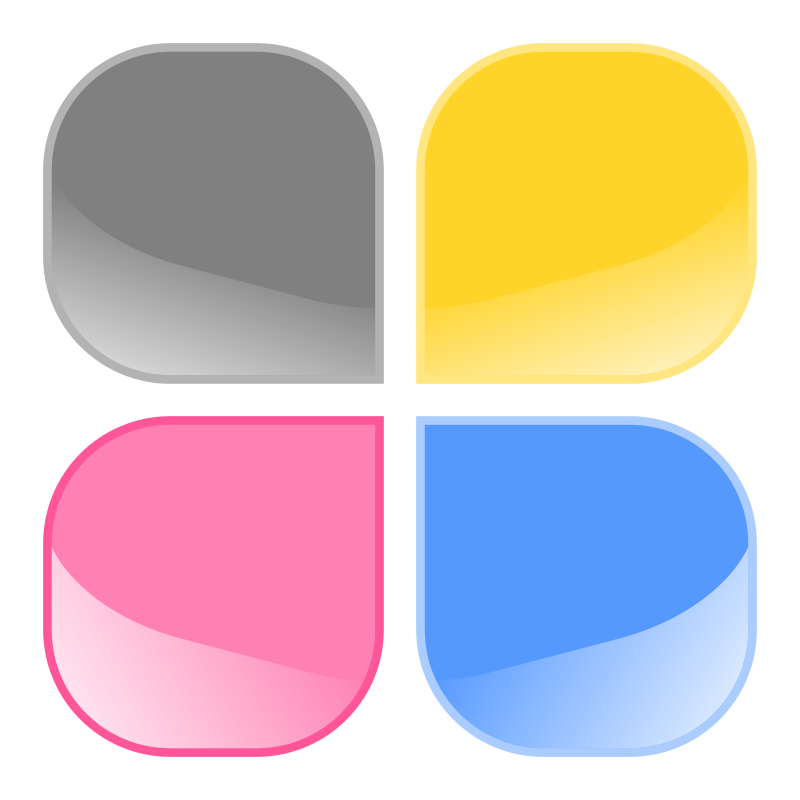 Clipart - Jelly buttons - square with rounded corners