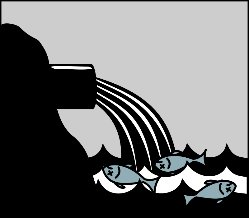 Water pollution by Moini - Pictogram symbolizing water pollution by discharge of wastewater into a body of water