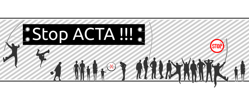 stop ACTA protest by ingis - stop ACTA protest, crowd of fellow pirates protesting against ACTA :)