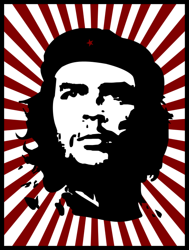 Che with red background by kuba - I added red stripes and red star.