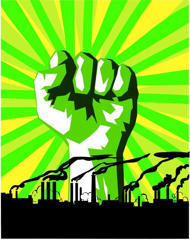 Green power against pollution by dominiquechappard - sign: race again pollution