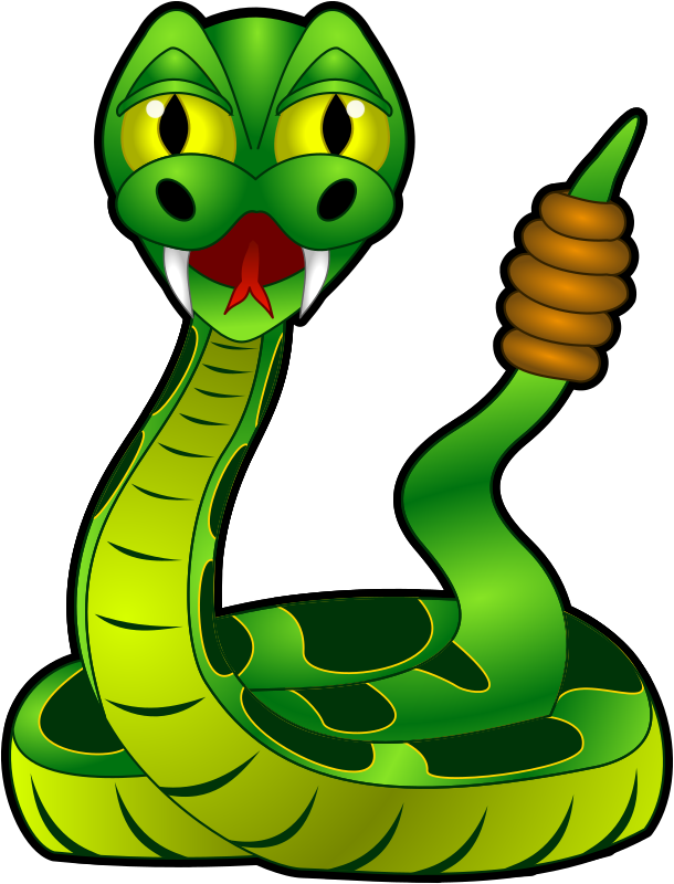 Cartoon Rattlesnake by Sirrob01 - Green rattlesnake - recolors will be easy as same colour gradient used on like colours.