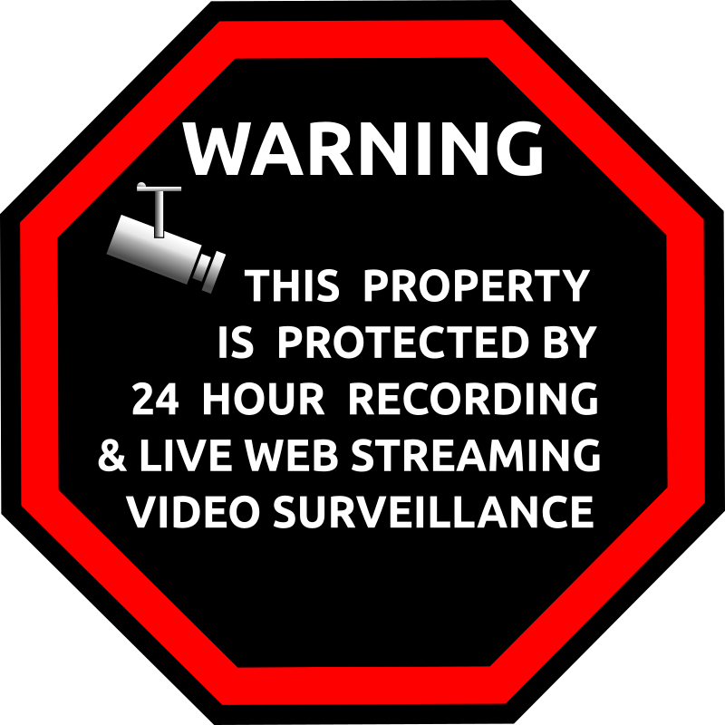 "English Security Sticker by Merlin2525 - A simple alarm security sticker, with the words, ""Warning this property is protected by 24 hour recording and live web streaming video surveillance."" Credit to Open Clip Art artist Adruki for the nice camera image found at http://openclipart.org/detail/167030/simbolo-cctv-by-adruki"