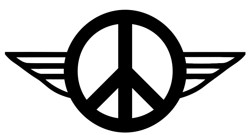 Wings of Peace 1 - B&W by TikiGiki - lineart logo wings of peace