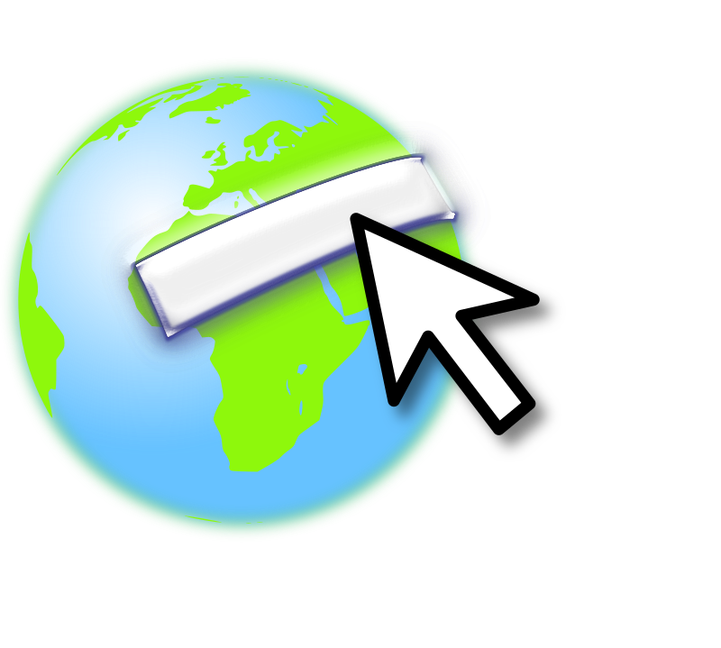 Earth with mouse by NowwweB - Earth logo with a mouse over.