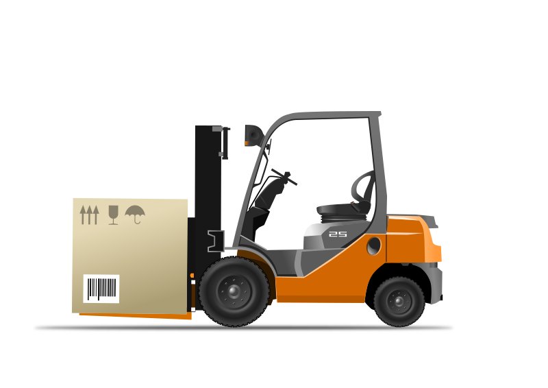 Orange forklift loader with box by br0nde