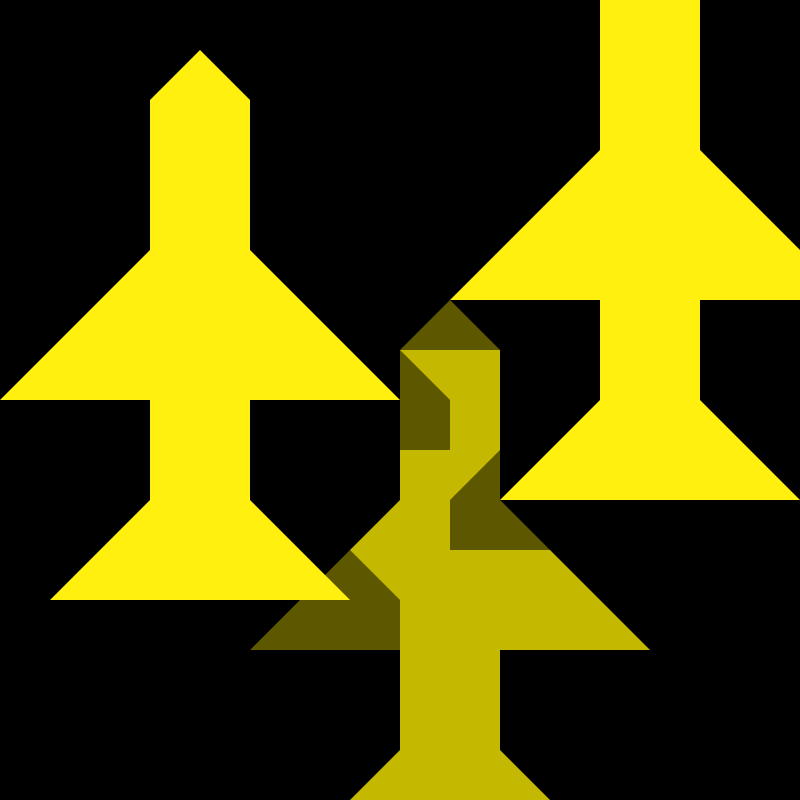 Yellow Planes Flying Over Black Ground 16px Icon by qubodup - Made for UFO:AI, possibly to replace an icon of unknown source see http://ufoai.git.sourceforge.net/git/gitweb.cgi?p=ufoai/ufoai;a=blob;f=base/pics/geoscape/orbit.png