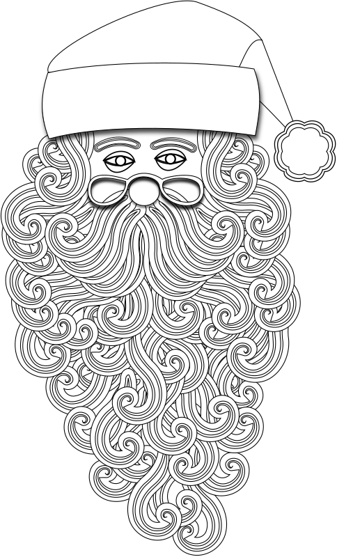 Santa 1 Outline by Merlin2525 - An original creation created using Inkscape by Merlin2525. Santa in Outline mode perfect for kids coloring book. Santa is drawn with fancy hair, beard and moustache. This image is a layered image. With Inkscape use Shift CTRL L to see the layers.