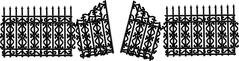 Iron Fence with Broken Gate by Merlin2525 - An iron fence with a broken gate. Drawn with Inkscape.