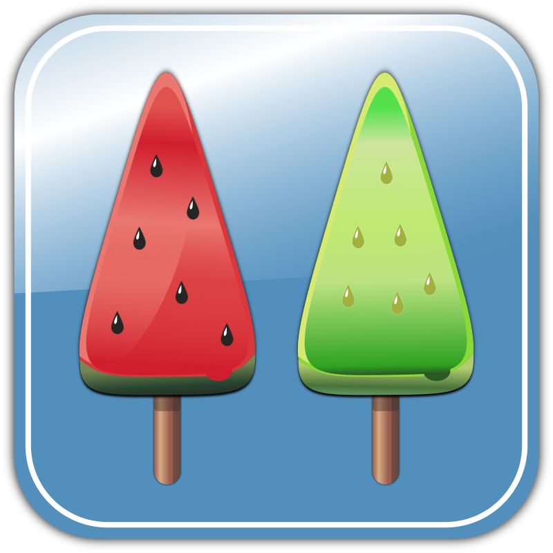 Melon Ice candies by yoshihiro - They are melon-flavored and water melon-flavored Ice candies.
