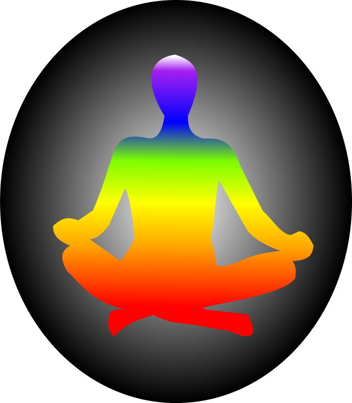 Chakra Meditation by GordonLunar - Chakra colours of figure in lotus-position meditation.