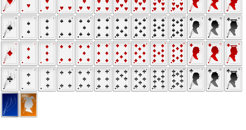White Oxygen Playing Card Faces by Lone Coder - This is an unorthodox card face set. Created by Eugene Trounev for the KDE games. Added to the Open Clip Art Library with his permission.