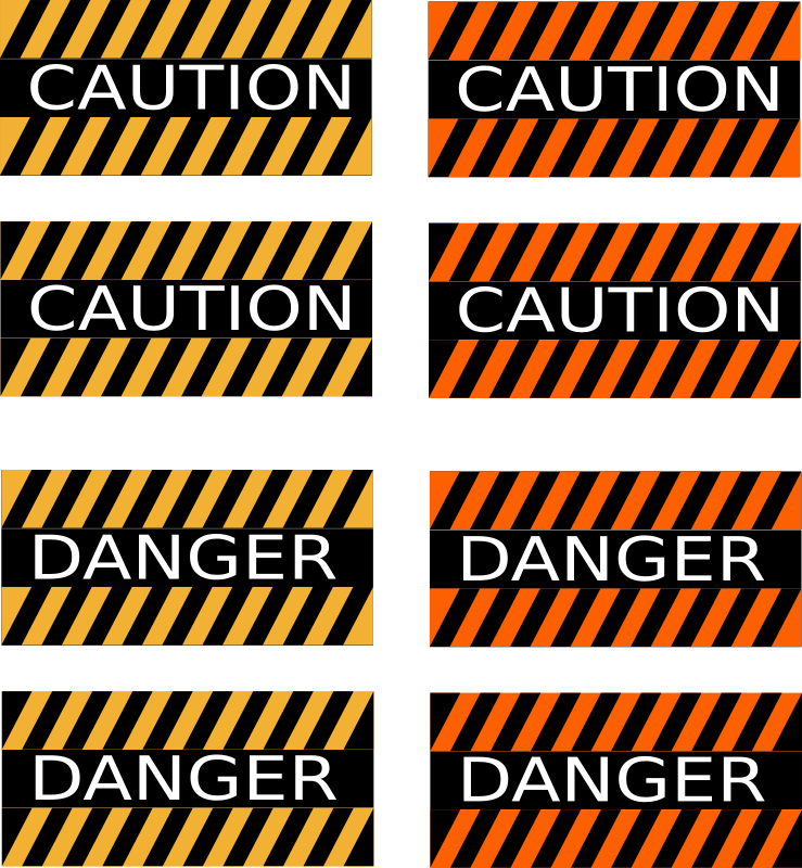 Caution and Danger Signs by Rfc1394 - Two versions of two signs, Danger and Caution, in black and orange stripe and black and yellow stripe, in both black first and color first.