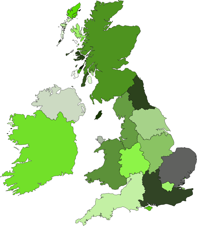 UK and Ireland by hellocatfood - A map of UK and Ireland, separated by region