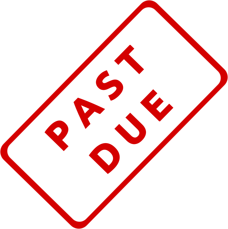 "Past Due Business Stamp 1 by Merlin2525 - A slanted solid red business stamp, with the words, ""Past Due."" Created with Inkscape."