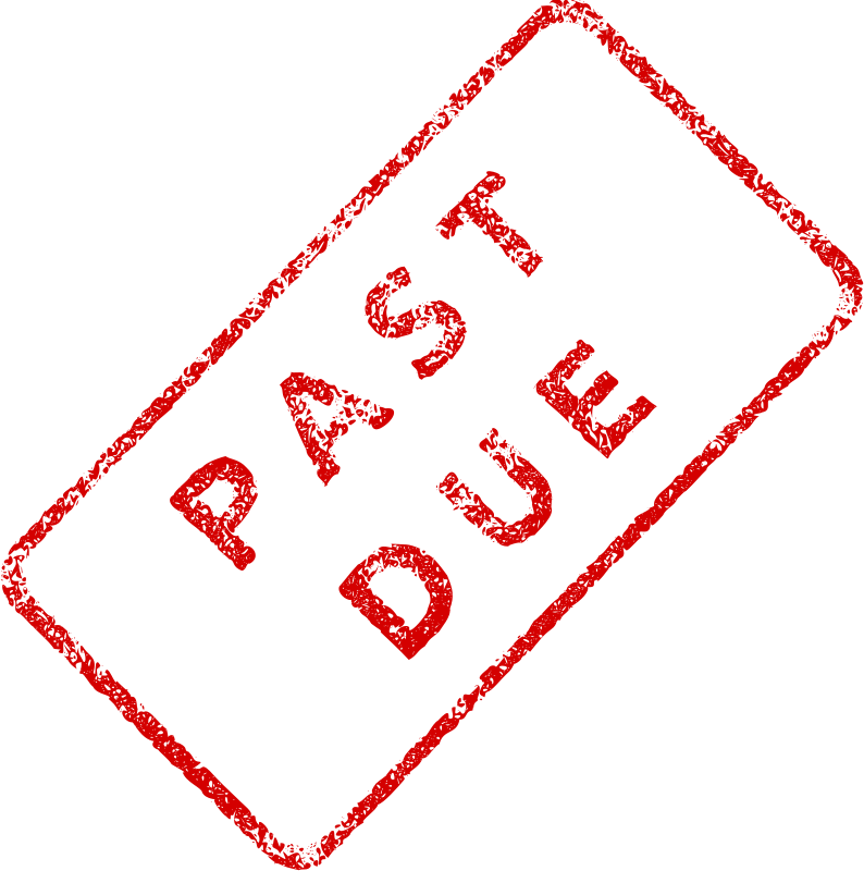 "Past Due Business Stamp 2 by Merlin2525 - A slanted realistic patterned red business stamp, with the words, ""Past Due."" Created with Inkscape."
