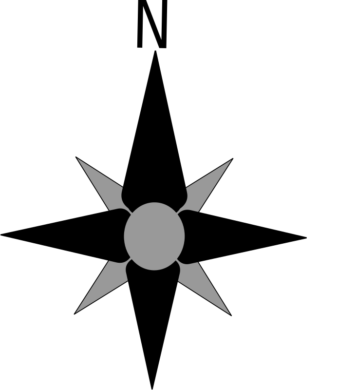 compass rose by labadf - Simple black and gray compass rose for maps and other illustrations