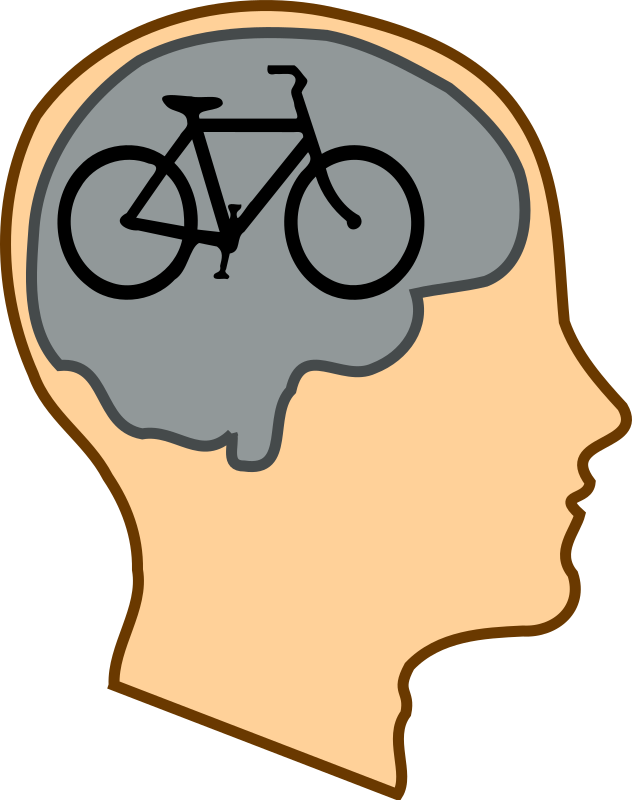 "Bicycle For Our Minds by GR8DAN - An image to illustrate the quote ""a bicycle for our minds"" by Steve Jobs, who said it when describing how he saw the function of computers. A simple pink profile of a male human head containing a grey outline of a brain which itself contains a black silhouette of a bicycle."
